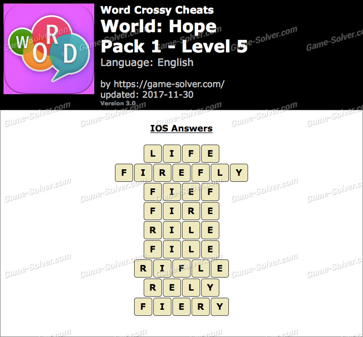 Word Crossy Hope Pack 1 Level 5 Answers