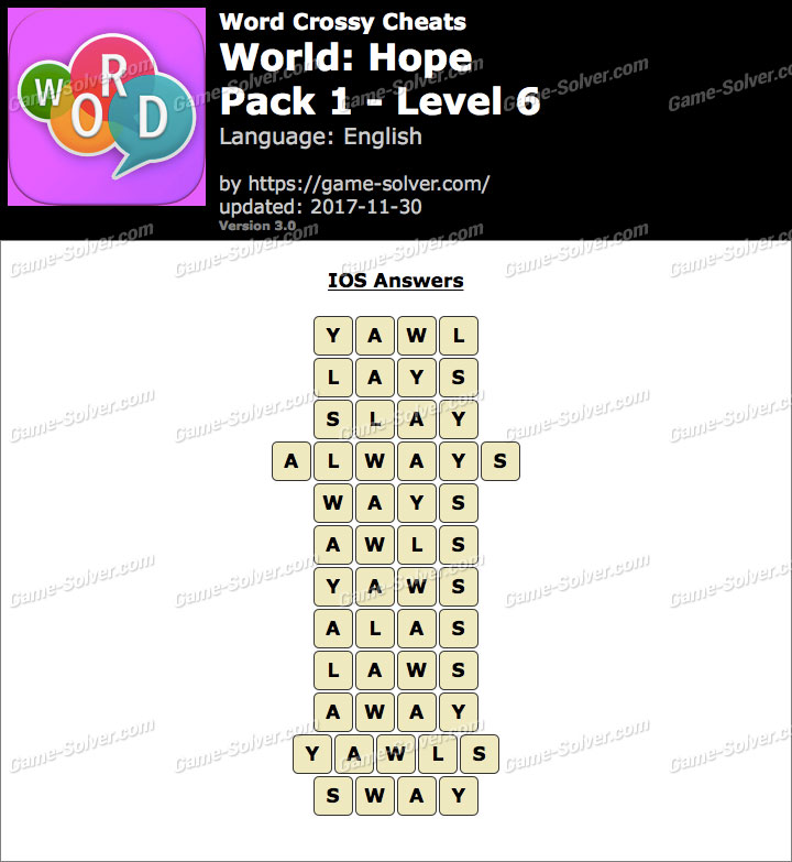 Word Crossy Hope Pack 1 Level 6 Answers