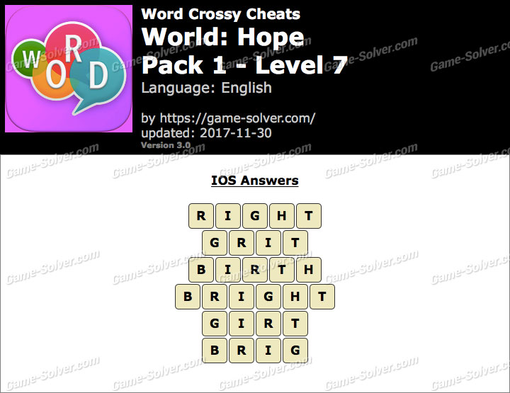 Word Crossy Hope Pack 1 Level 7 Answers