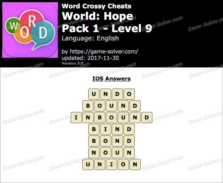 Word Crossy Hope Pack 1 Level 9 Answers