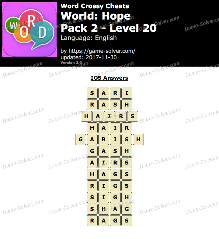 Word Crossy Hope Pack 2 Level 20 Answers