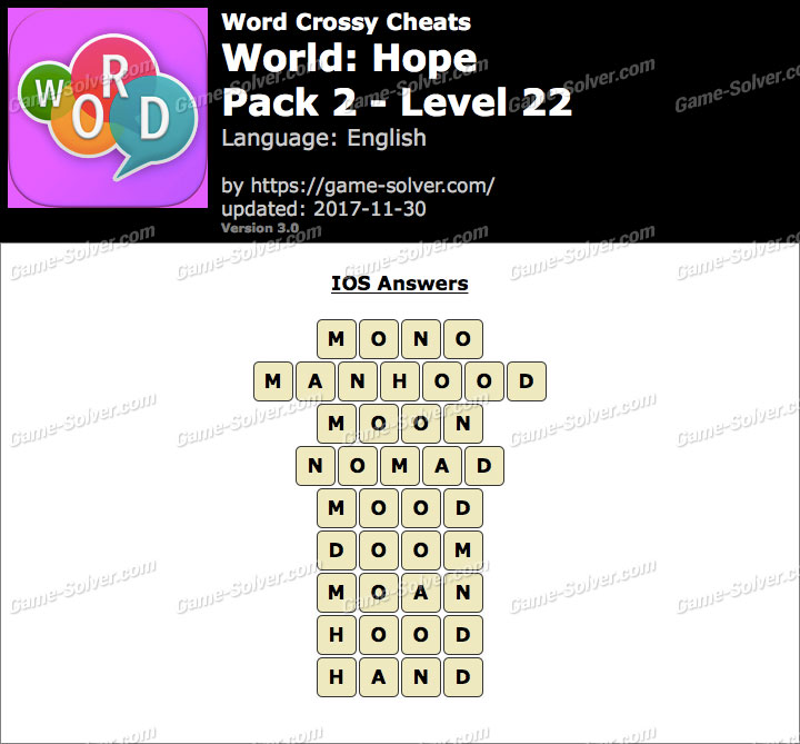 Word Crossy Hope Pack 2 Level 22 Answers