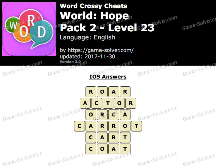 Word Crossy Hope Pack 2 Level 23 Answers