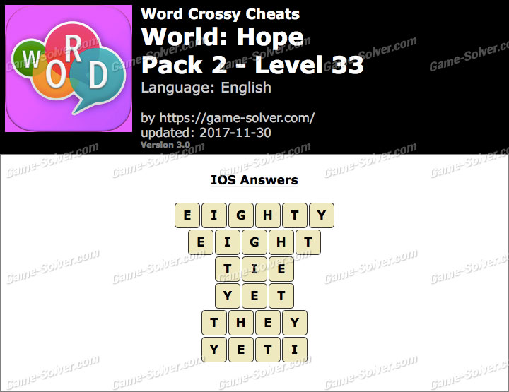 Word Crossy Hope Pack 2 Level 33 Answers