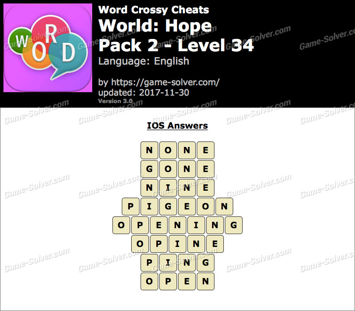 Word Crossy Hope Pack 2 Level 34 Answers