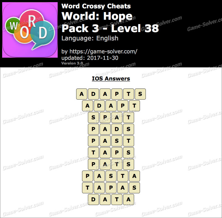 Word Crossy Hope Pack 3 Level 38 Answers