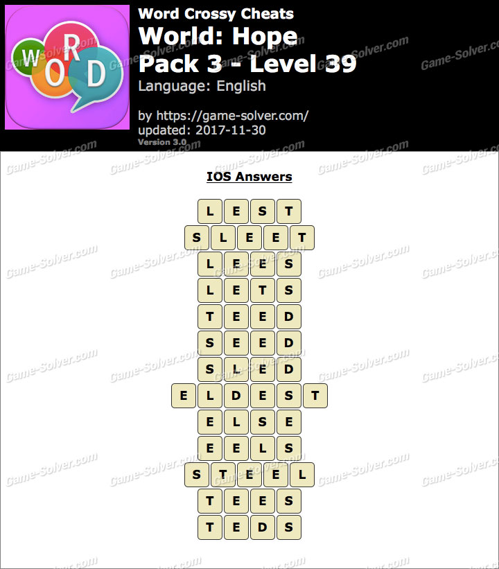 Word Crossy Hope Pack 3 Level 39 Answers