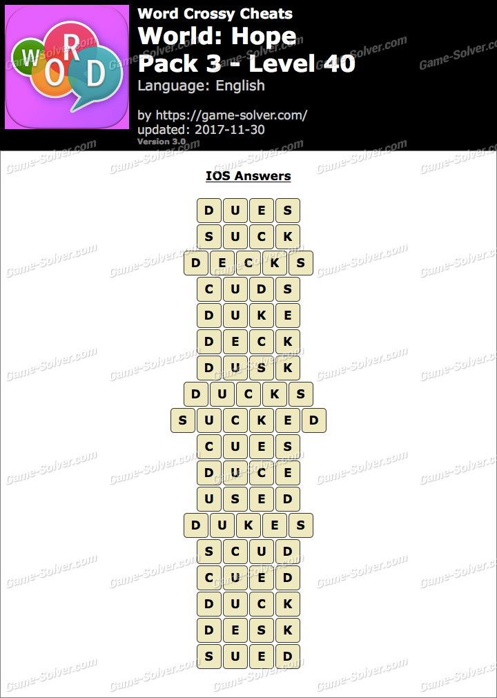 Word Crossy Hope Pack 3 Level 40 Answers