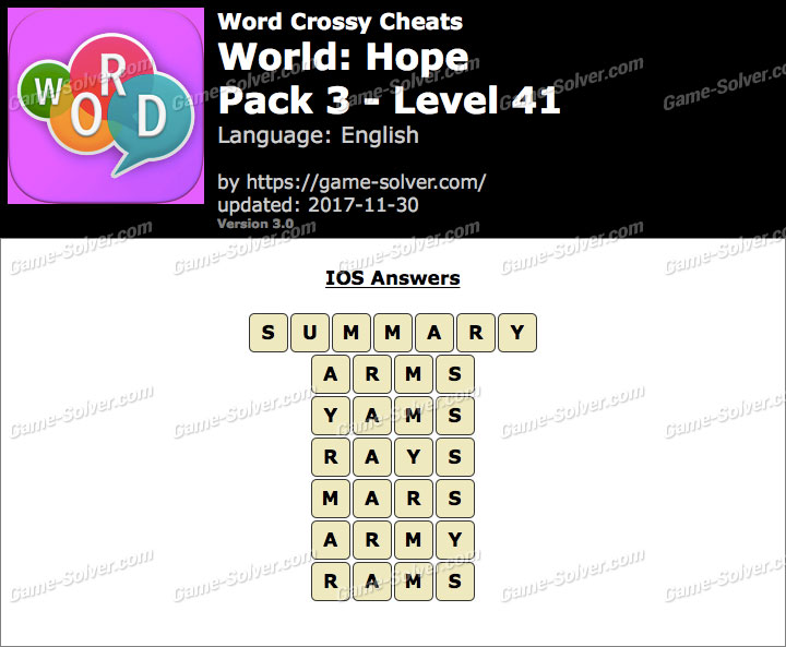 Word Crossy Hope Pack 3 Level 41 Answers