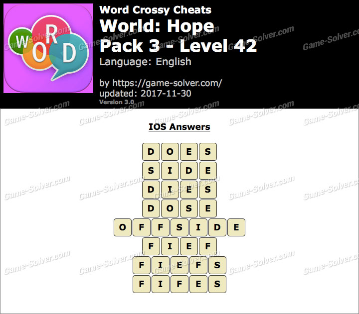 Word Crossy Hope Pack 3 Level 42 Answers