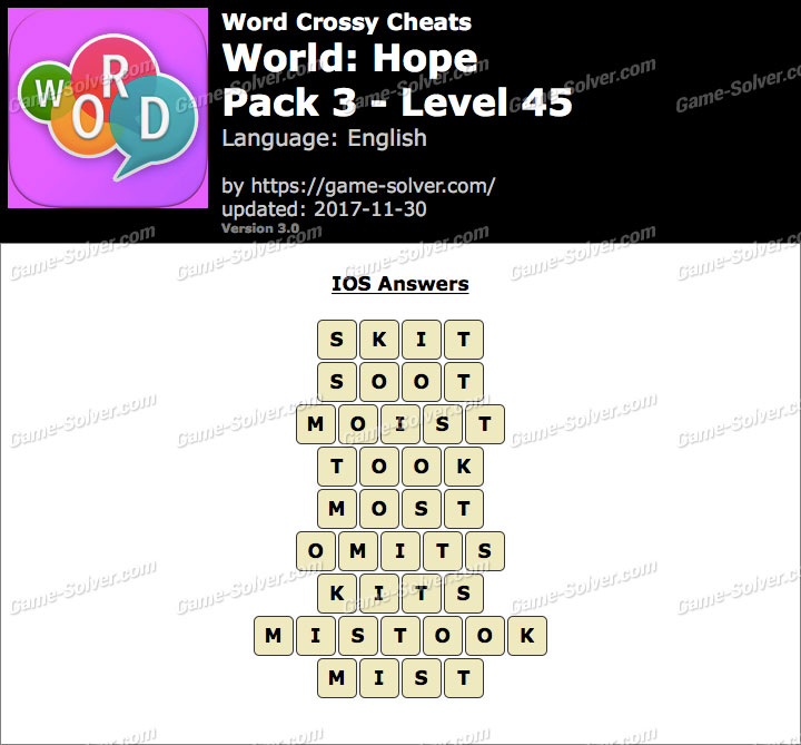 Word Crossy Hope Pack 3 Level 45 Answers