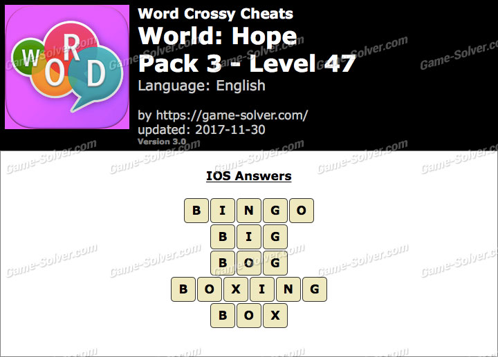 Word Crossy Hope Pack 3 Level 47 Answers