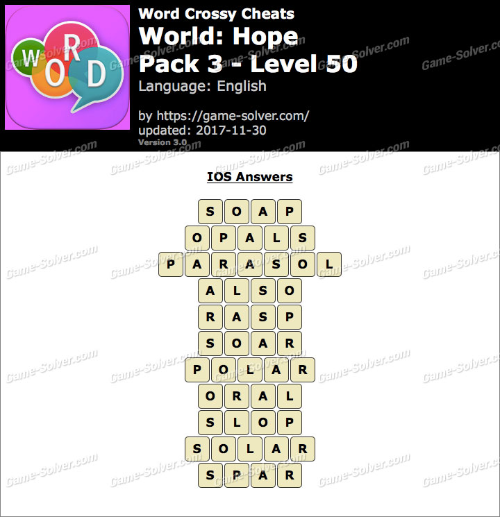 Word Crossy Hope Pack 3 Level 50 Answers
