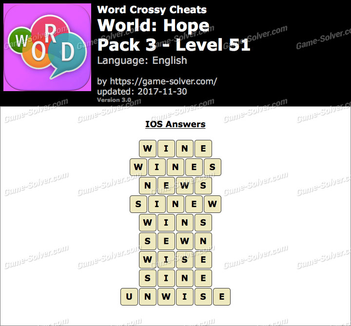 Word Crossy Hope Pack 3 Level 51 Answers