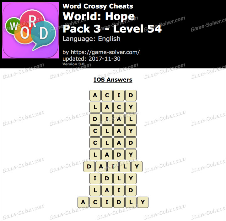 Word Crossy Hope Pack 3 Level 54 Answers