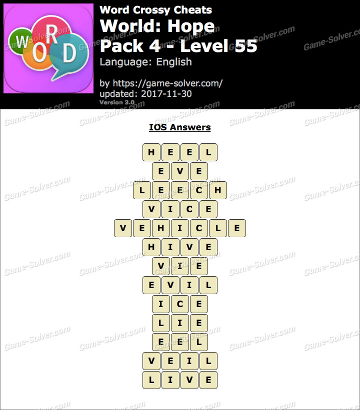 Word Crossy Hope Pack 4 Level 55 Answers