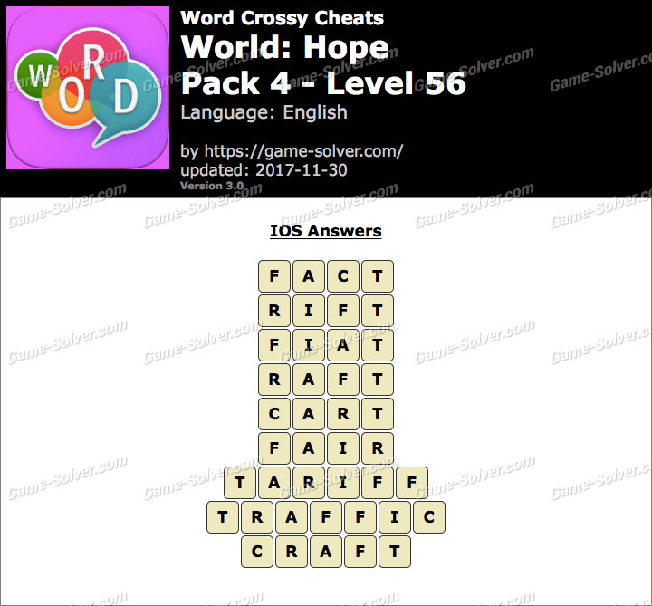 Word Crossy Hope Pack 4 Level 56 Answers