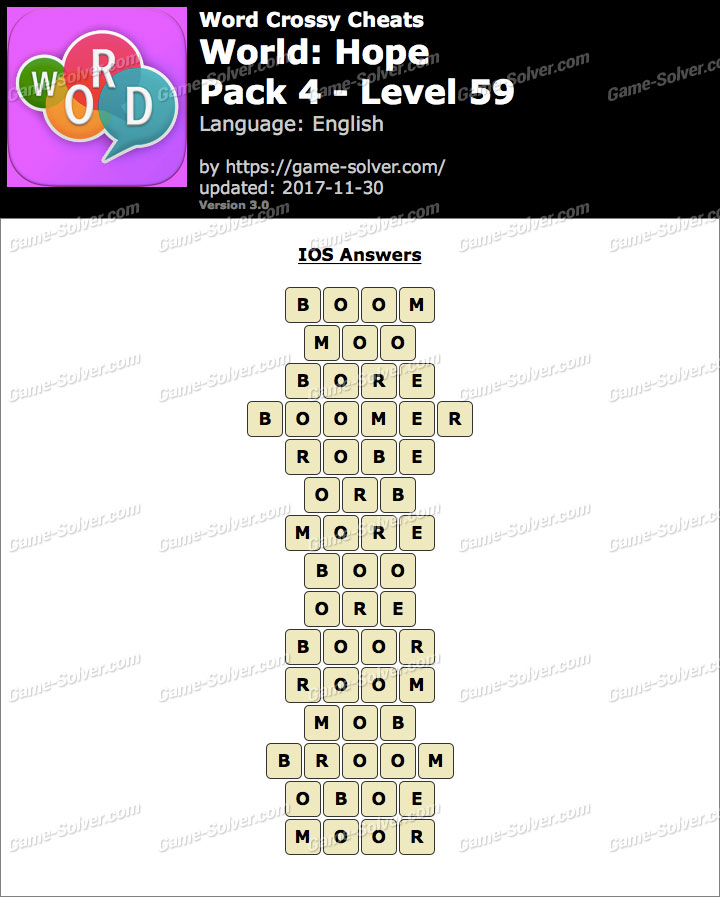 Word Crossy Hope Pack 4 Level 59 Answers