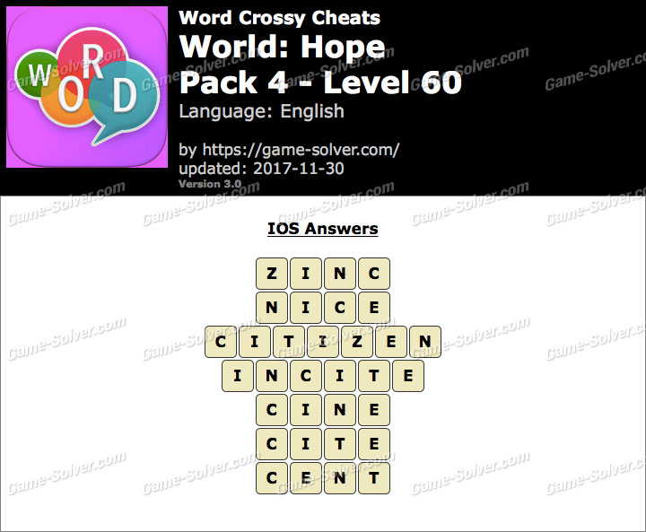 Word Crossy Hope Pack 4 Level 60 Answers