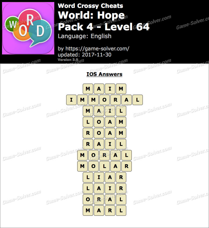 Word Crossy Hope Pack 4 Level 64 Answers