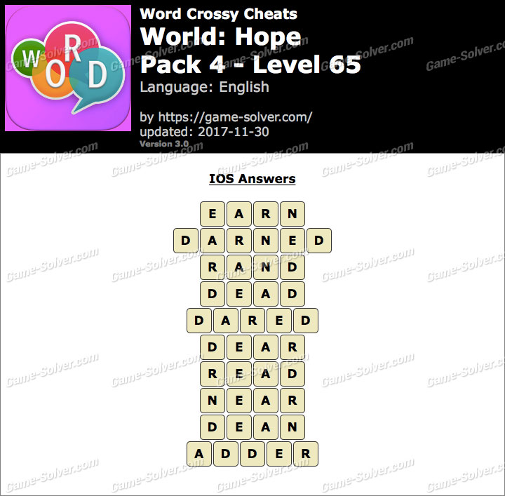 Word Crossy Hope Pack 4 Level 65 Answers