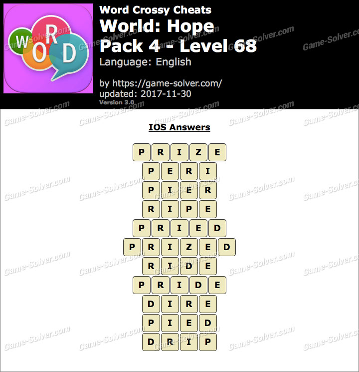 Word Crossy Hope Pack 4 Level 68 Answers