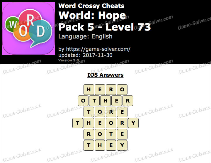 Word Crossy Hope Pack 5 Level 73 Answers