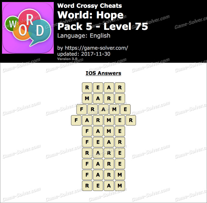 Word Crossy Hope Pack 5 Level 75 Answers