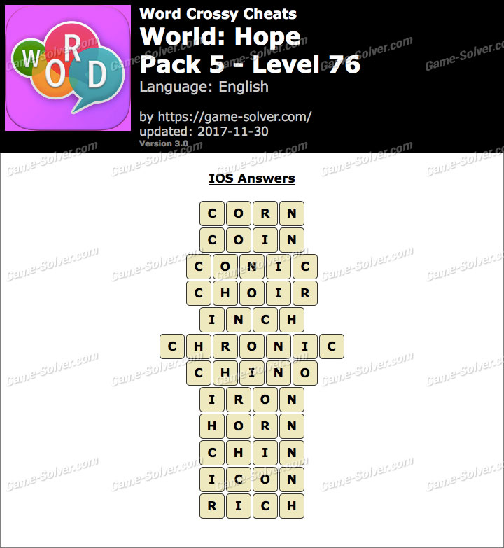 Word Crossy Hope Pack 5 Level 76 Answers