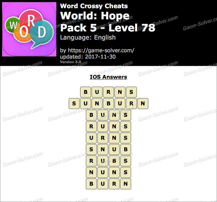 Word Crossy Hope Pack 5 Level 78 Answers