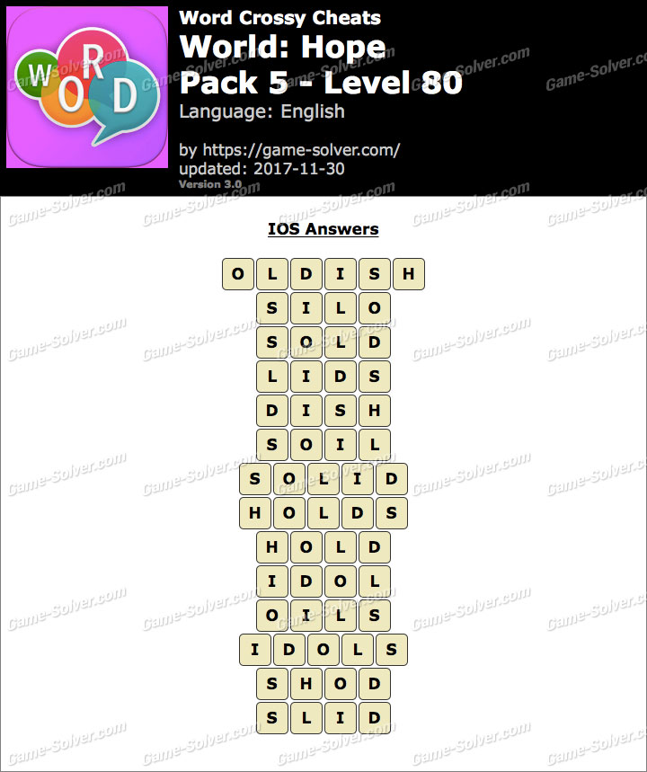 Word Crossy Hope Pack 5 Level 80 Answers