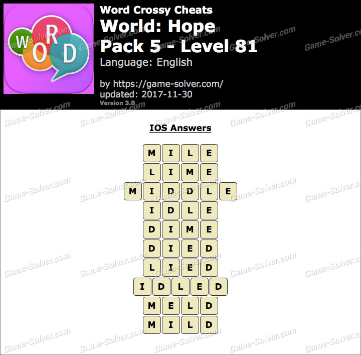 Word Crossy Hope Pack 5 Level 81 Answers
