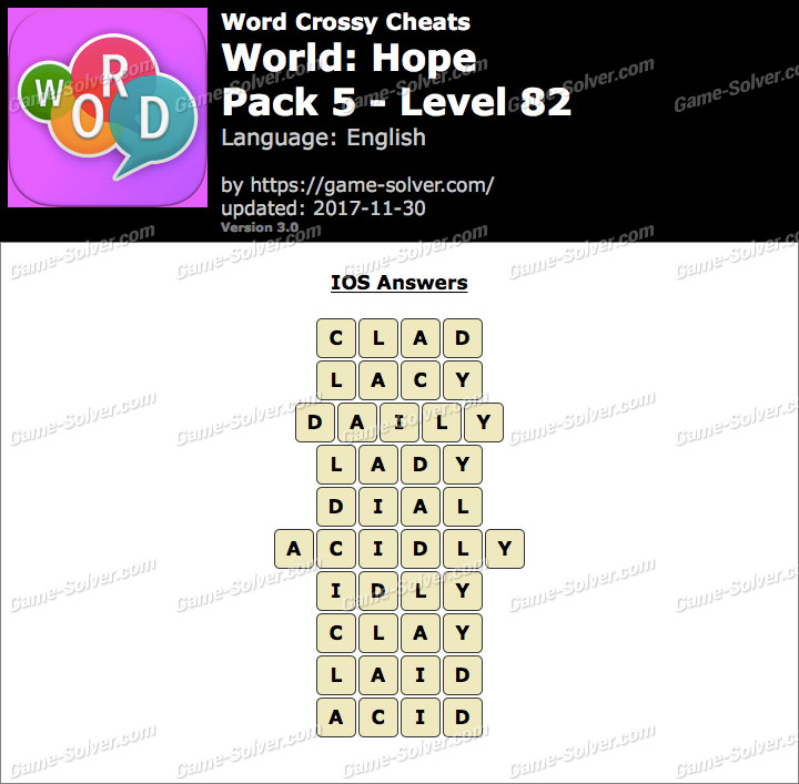 Word Crossy Hope Pack 5 Level 82 Answers