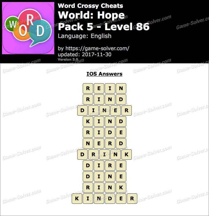 Word Crossy Hope Pack 5 Level 86 Answers