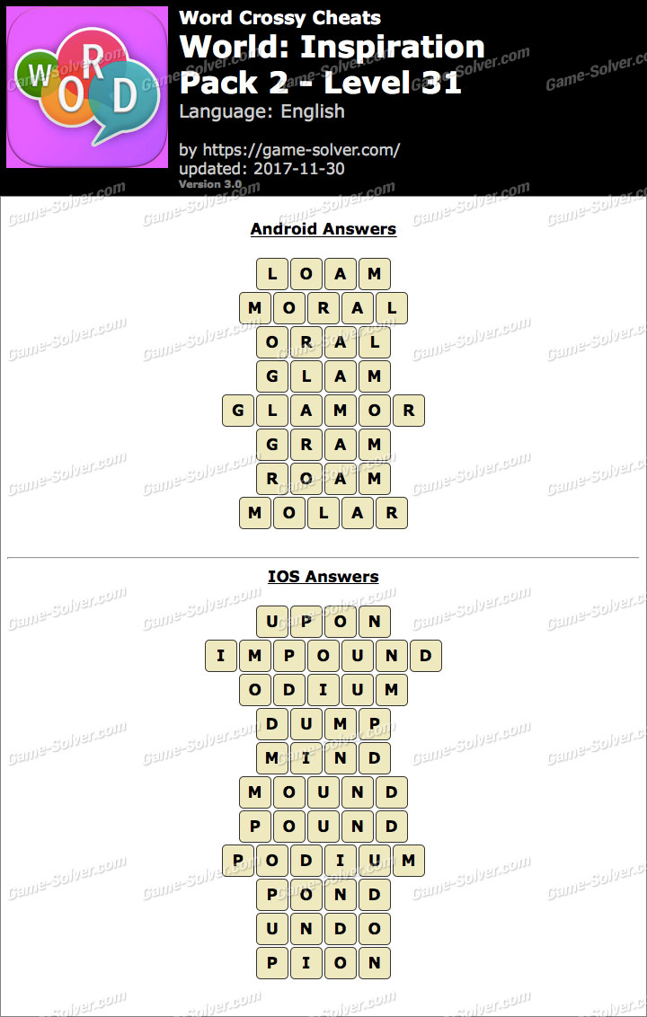 Word Crossy Inspiration Pack 2 Level 31 Answers
