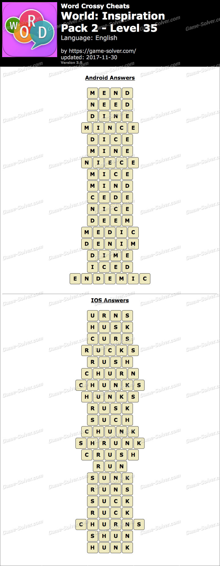 Word Crossy Inspiration Pack 2 Level 35 Answers