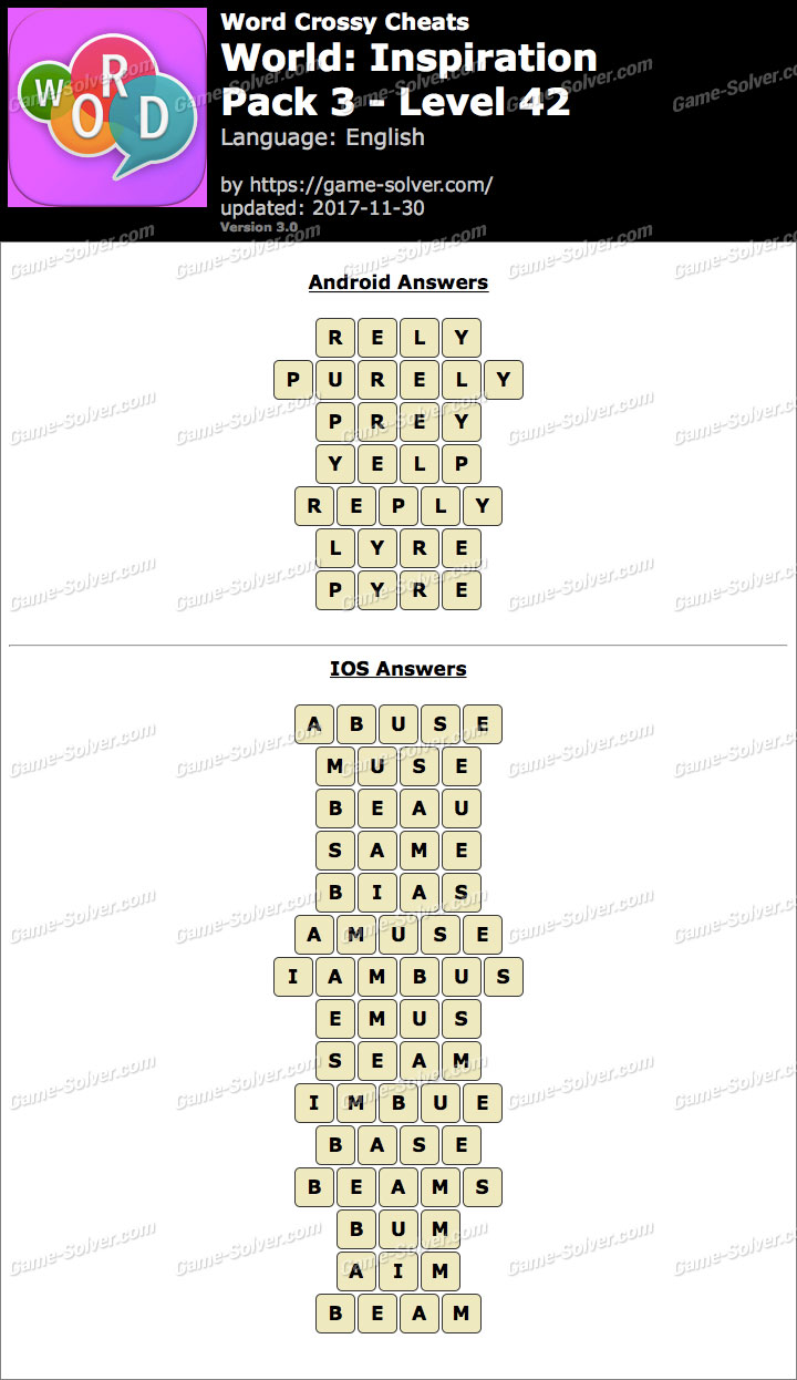 Word Crossy Inspiration Pack 3 Level 42 Answers
