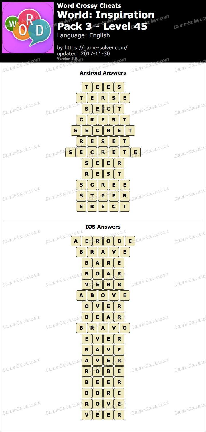Word Crossy Inspiration Pack 3 Level 45 Answers