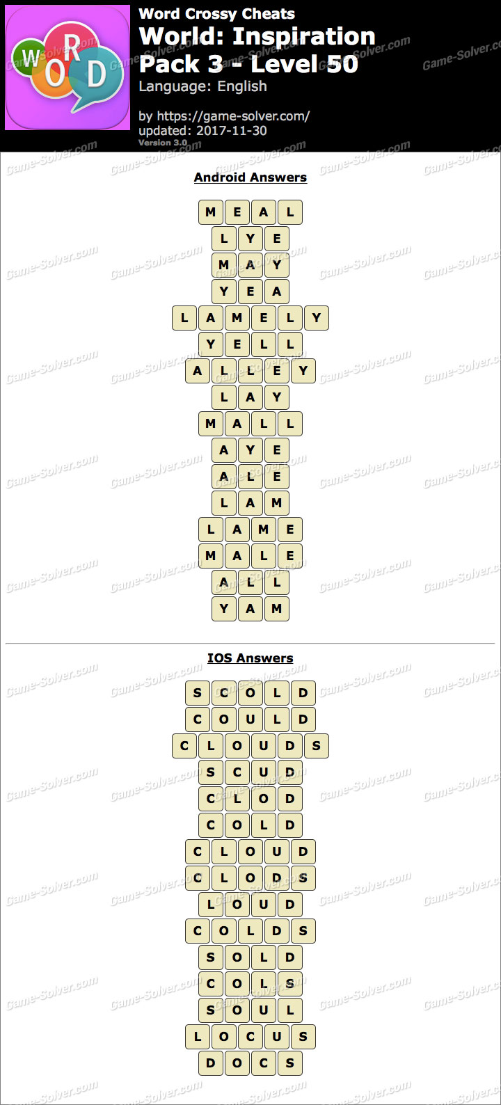 Word Crossy Inspiration Pack 3 Level 50 Answers