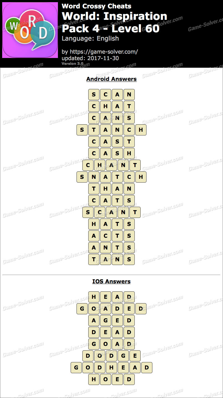 Word Crossy Inspiration Pack 4 Level 60 Answers