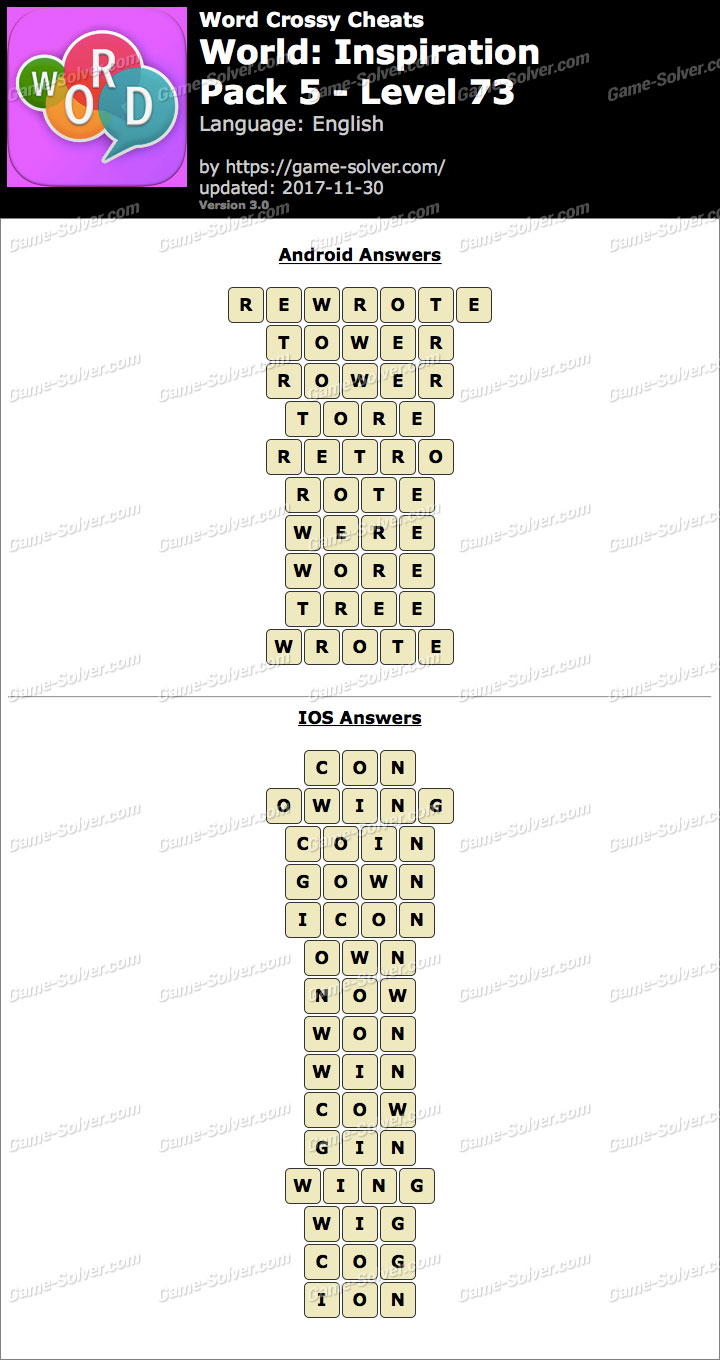Word Crossy Inspiration Pack 5 Level 73 Answers