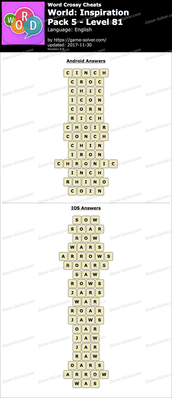 Word Crossy Inspiration Pack 5 Level 81 Answers