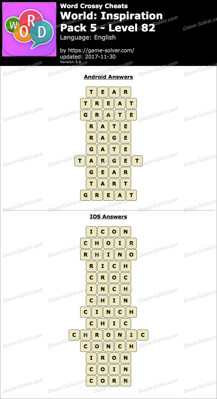 Word Crossy Inspiration Pack 5 Level 82 Answers