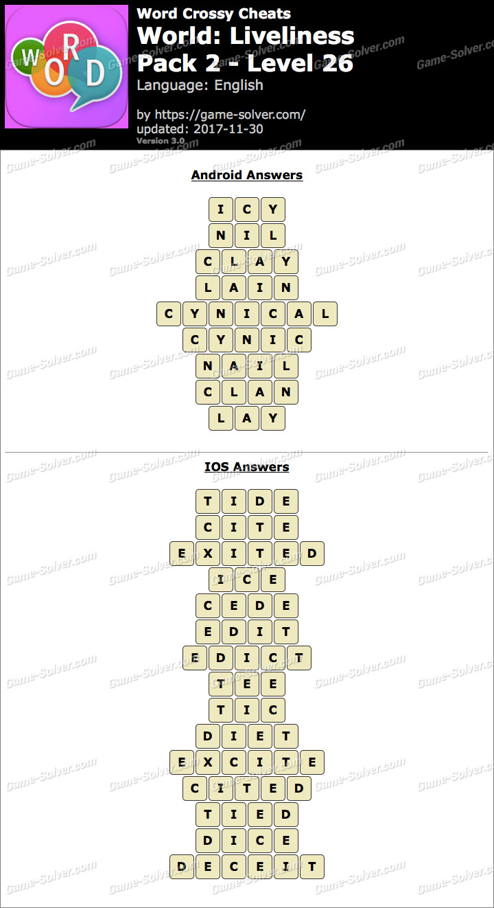 Word Crossy Liveliness Pack 2 Level 26 Answers