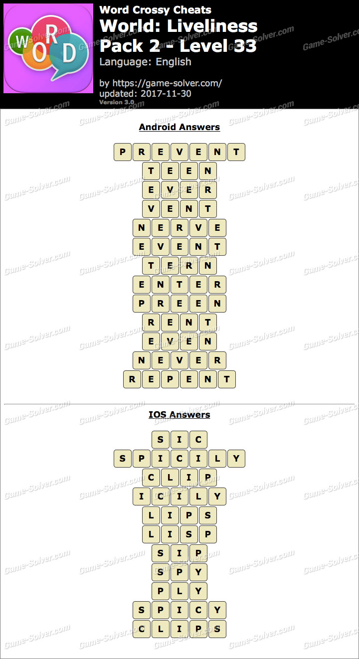 Word Crossy Liveliness Pack 2 Level 33 Answers