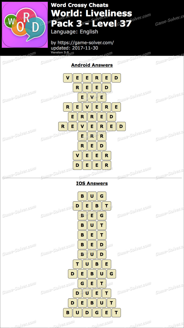 Word Crossy Liveliness Pack 3 Level 37 Answers