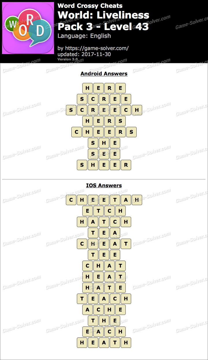 Word Crossy Liveliness Pack 3 Level 43 Answers