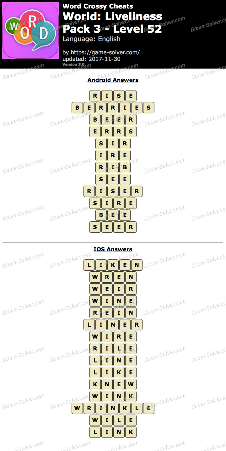 Word Crossy Liveliness Pack 3 Level 52 Answers