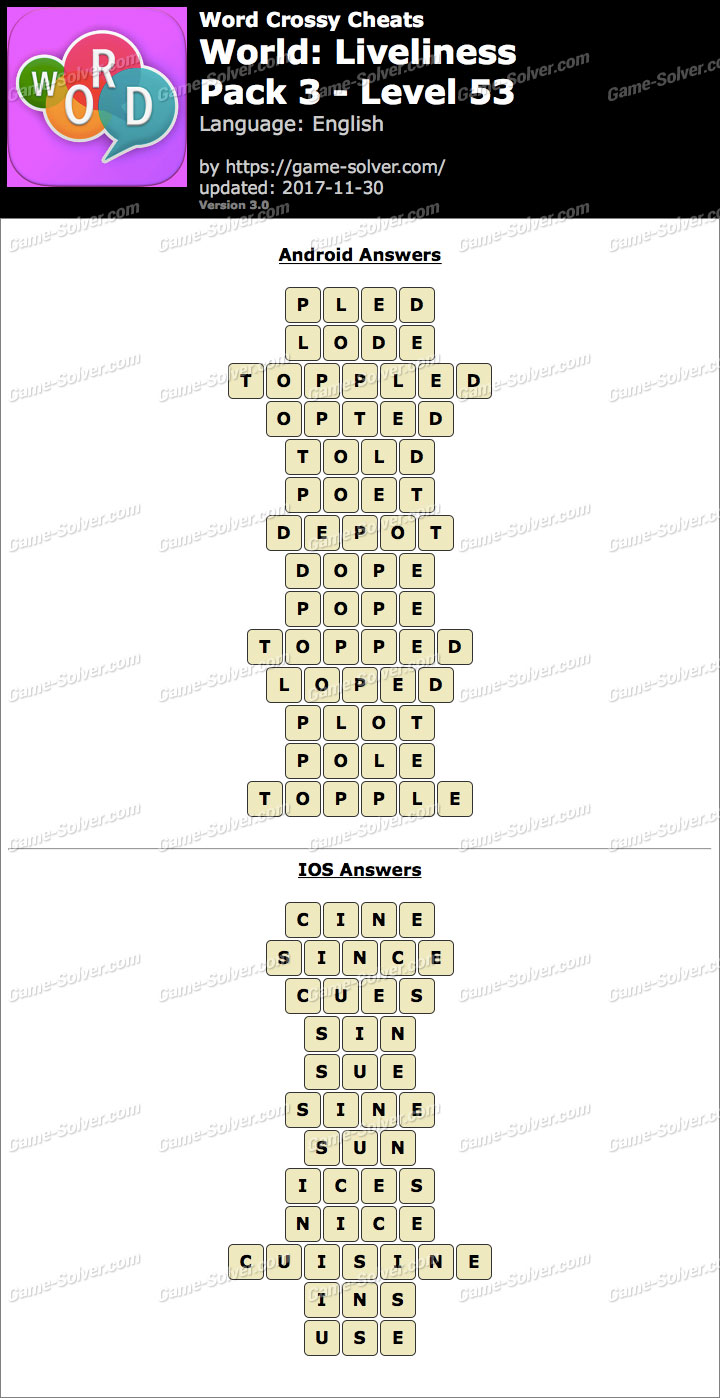 Word Crossy Liveliness Pack 3 Level 53 Answers