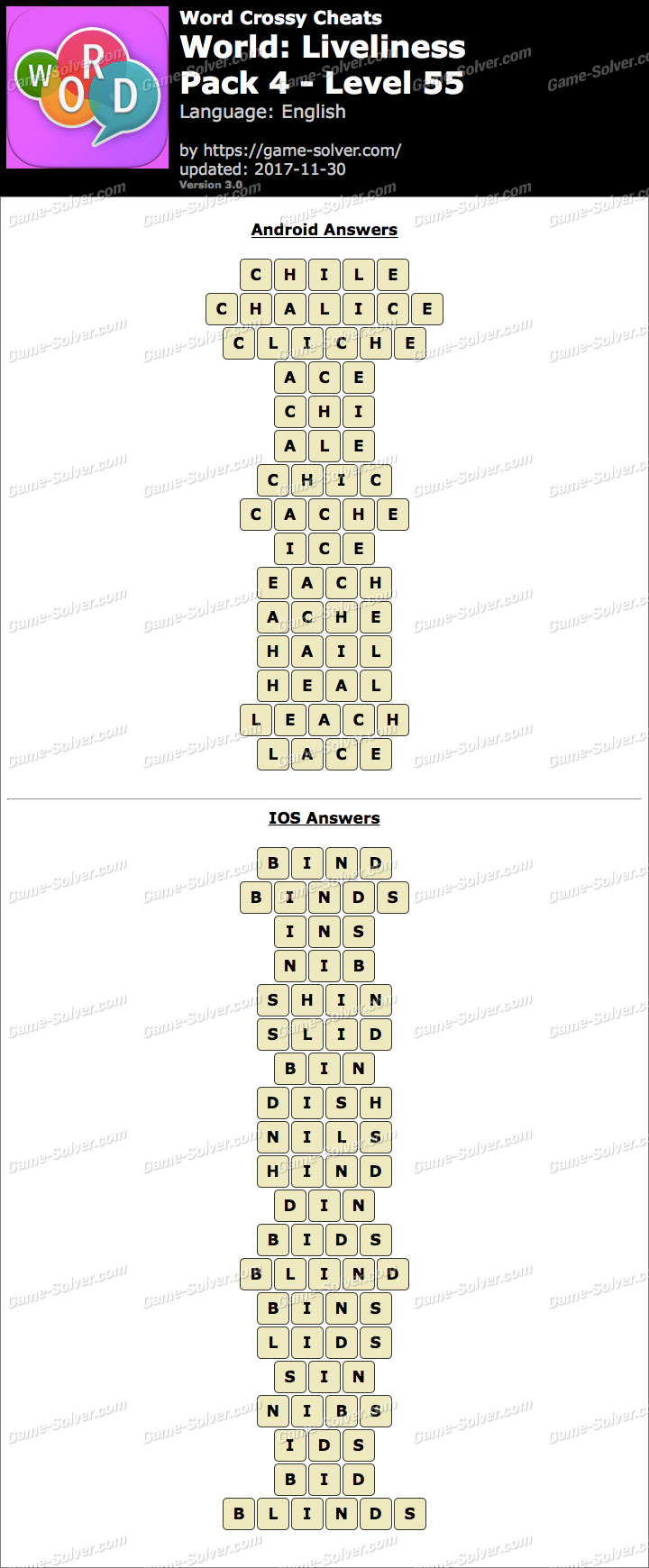 Word Crossy Liveliness Pack 4 Level 55 Answers